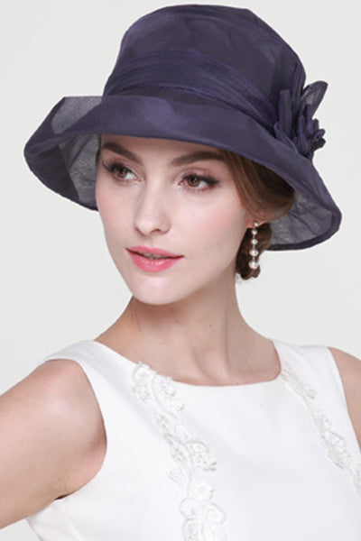 2018 evening gowns - Navy,Purple, Gray Hat,New Beautiful Women Church Hat 100% Silk Summer Hat, Fashion Hat