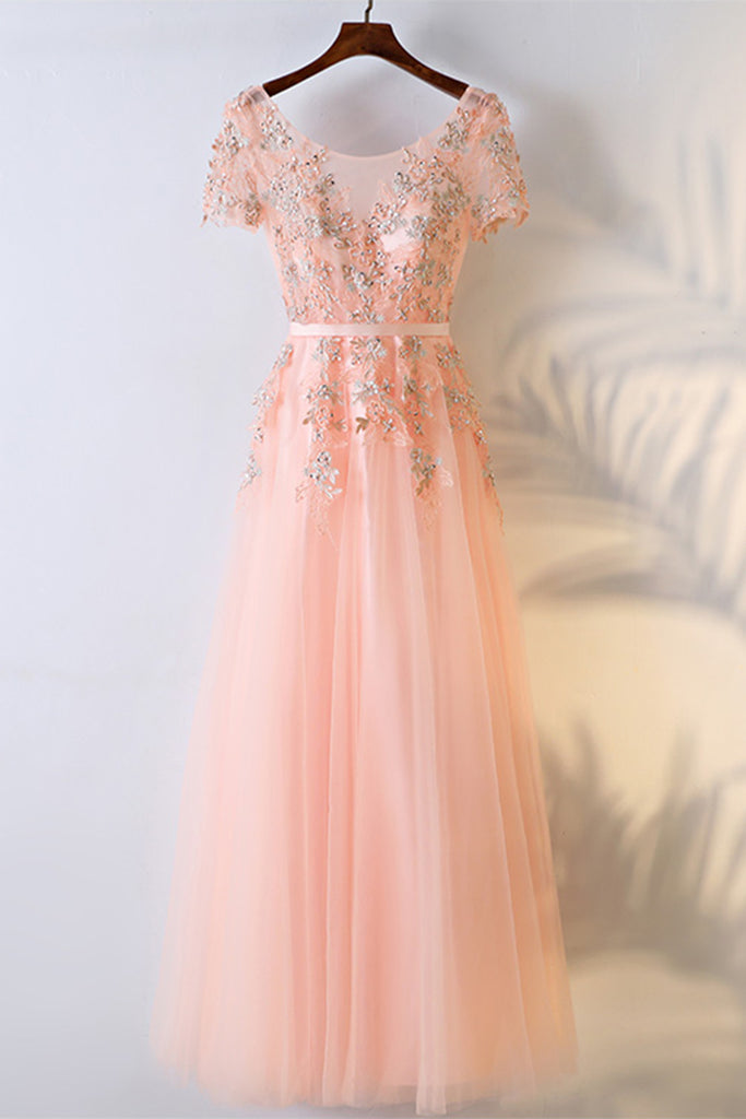 Blush pink round neck long customize formal prom dress, long ...