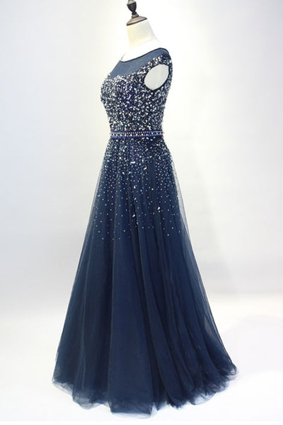 Dark blue tulle sequins round neck full-length prom dresses, A-line evening dresses with straps - Sweetheartgirls