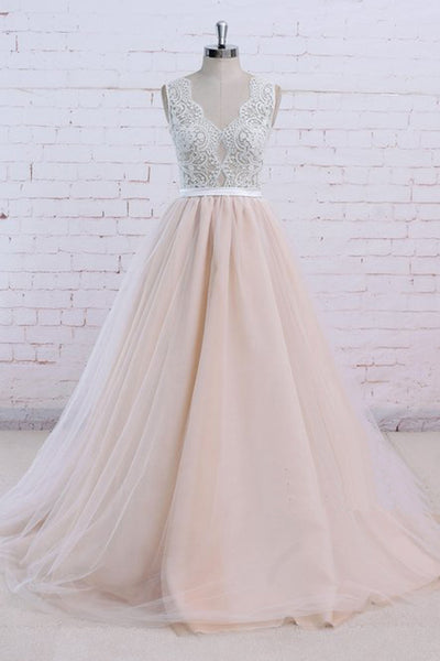2019 Prom Dresses | Blush Pink Tulle Ivory Lace V Neck Vintage Wedding Dress, Formal Prom Dress