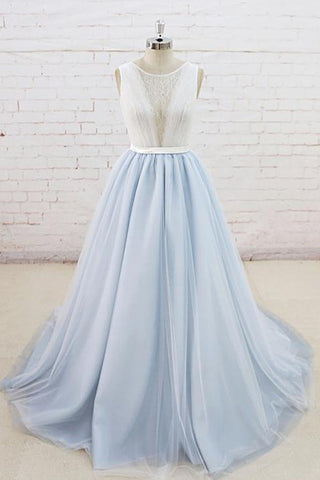 Light Blue Tulle Sheer Back Summer Lace Wedding Dress, Sweep Train Formal Prom Dress