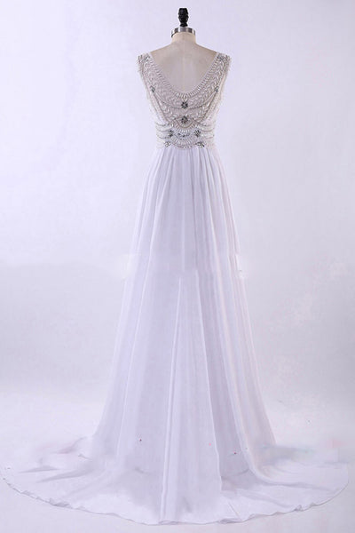 White chiffon rhinestone round neck train sequins long evening dress, prom dresses - occasion dresses by Sweetheartgirls
