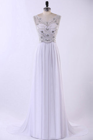 Prom 2020 | White chiffon rhinestone round neck train sequins long evening dress, prom dresses