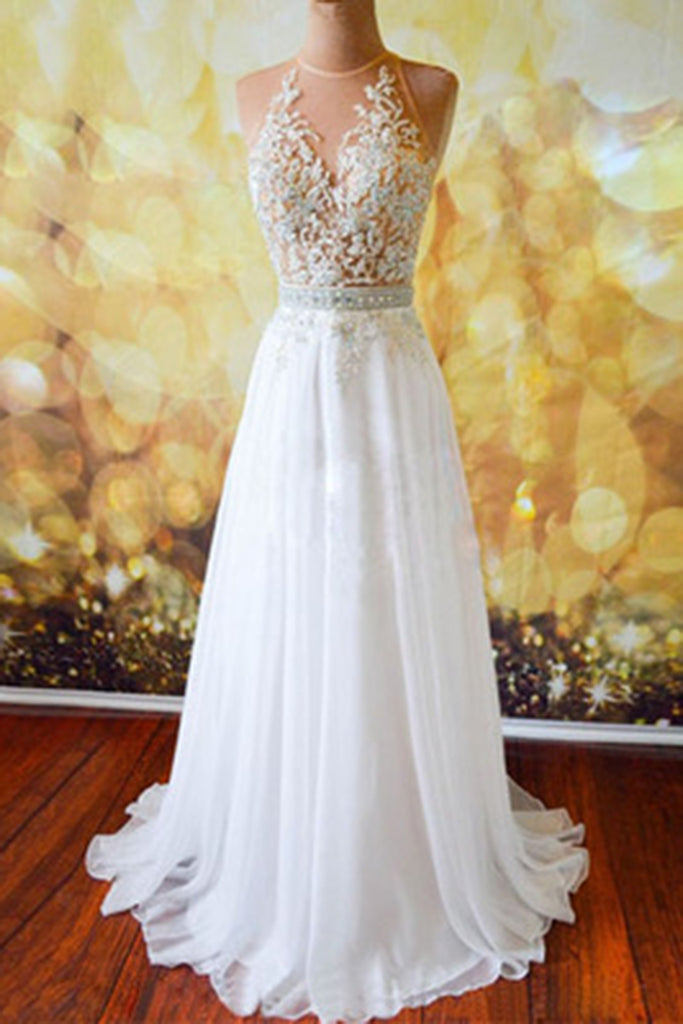Prom 2020 | White chiffon lace open back sash see-trough long evening dress, prom dresses