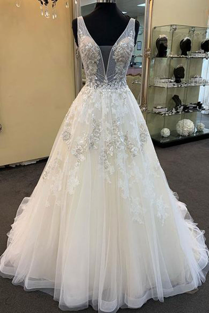 78cf0591e90 Unique White Tulle V Neck Long Beaded Prom Dress