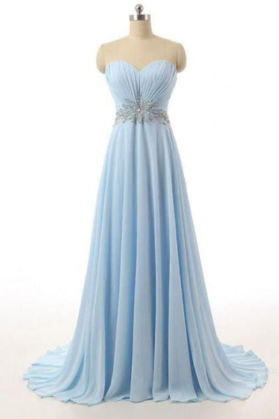 Prom 2020 | Light blue chiffon sweetheart sequins A-line simple long prom dresses for teens