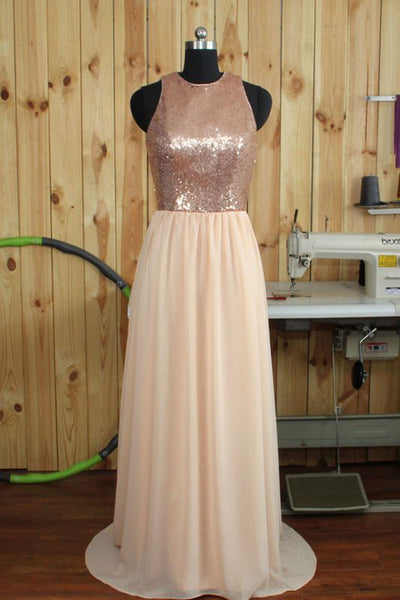 Simple champagne chiffon sequins long evening dresses,formal dress - prom dresses 2018