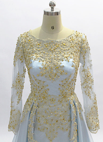 Sweet 16 Dresses | Baby Blue Long Sleeve Formal Beaded Prom Dress With Lace Applique