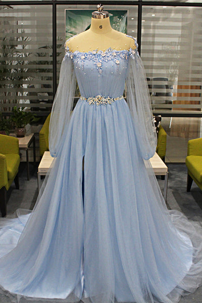 Sweet 16 Dresses | Baby Blue Tulle Long Beaded Sweet 16 Prom Dress With Sleeves, Slit Evening Dress