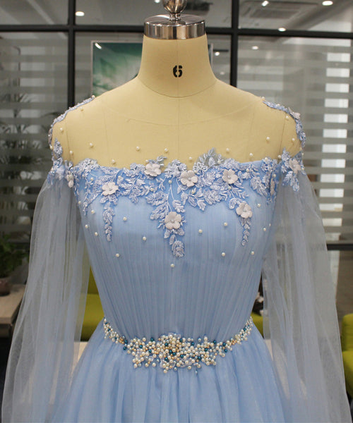 2019 Long Prom Dresses | Baby Blue Tulle Long Beaded Sweet 16 Prom Dress With Sleeves, Slit Evening Dress