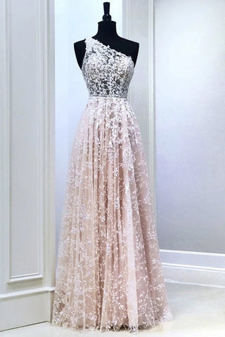 Pink Tulle Lace One Shoulder Long A Line Prom Dress, Evening Dresses