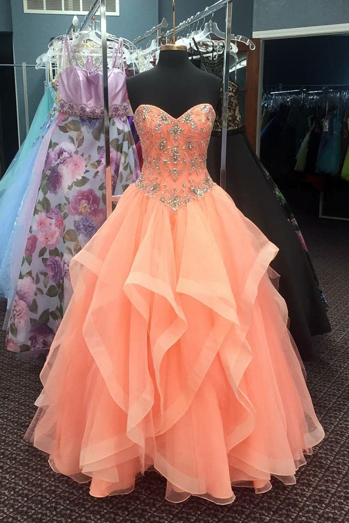 2018 evening gowns - New brand orange tulle strapless beaded princess prom dress, long evening dress