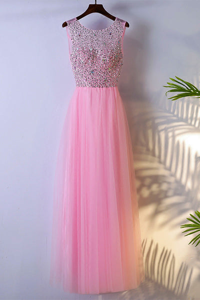 Sweet 16 Dresses | Pink tulle round neck beading customize long sweet 16 prom dresses