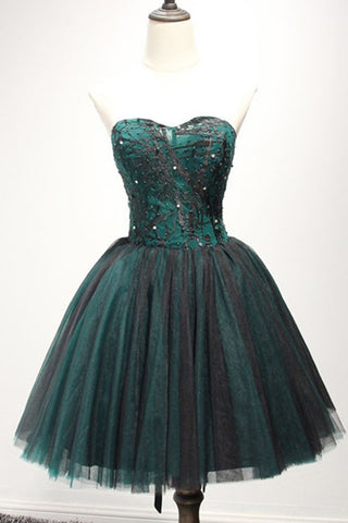 Sweet 16 Dresses | Black and dark green tulle strapless short sequins party dress, mini prom dress
