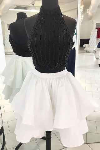 Black and white two piece strapless short homecoming dress, short beaded party dress