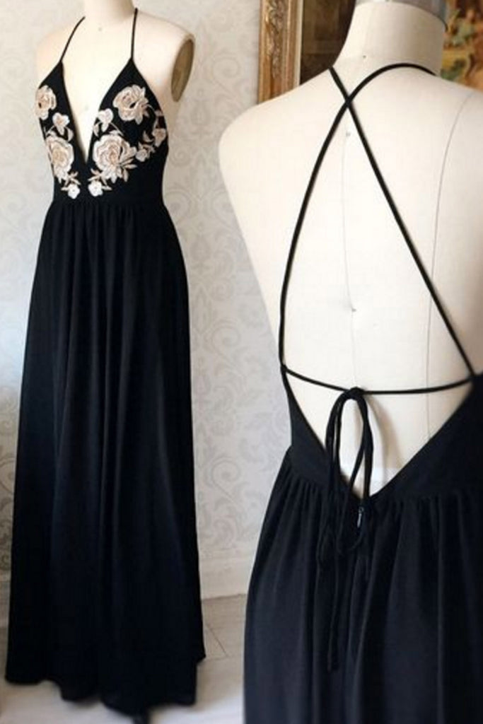 Sweet 16 Dresses | Elegant black chiffon embroidery lace appliqués long backless evening dresses
