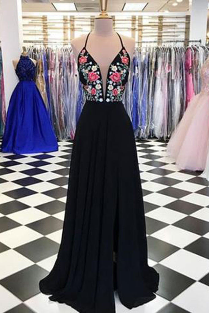 Sweet 16 Dresses | Black chiffon open back V neck long embroidery slit evening dress, long black party dress