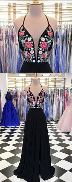 Black chiffon open back V neck long embroidery slit evening dress, long black party dress