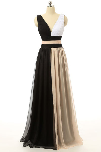 2018 evening gowns - New design chiffon black&champagne V-line long evening dresses