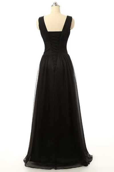 New design chiffon black&champagne V-line long evening dresses - occasion dresses by Sweetheartgirls
