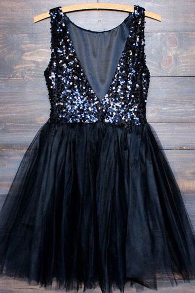 Black chiffon sequins backless round neck A-line short dresses,casual dresses - prom dresses 2018