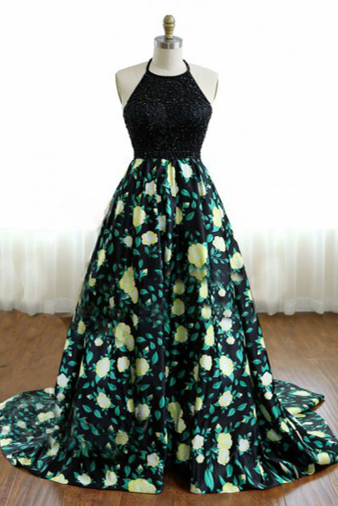 Sweet 16 Dresses | Elegant backless long black beaded top long floral graduation dresses
