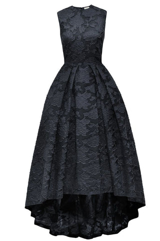 2019 Prom Dresses | Black lace round neck high low sleevelessA-line long prom dress  ,evening dresses