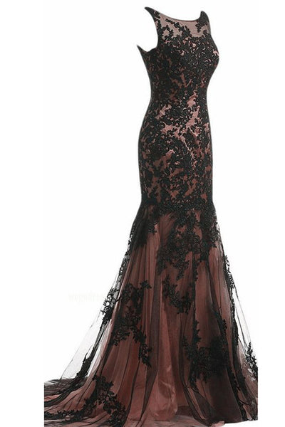 Elegant black tulle lace round neck applique mermaid long prom dress - prom dresses 2018
