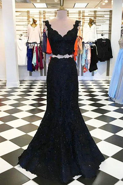 2019 Prom Dresses | Black lace two piece V neck long mermaid evening dress, black senior prom dress
