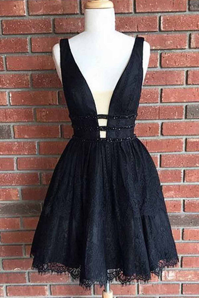 2019 Prom Dresses | Cute black lace short halter homecoming dresses, short party dress