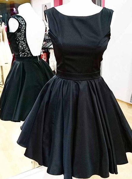 Sweet 16 Dresses | Black satin scoop neck short lace back homecoming dresses, short A-line party dress