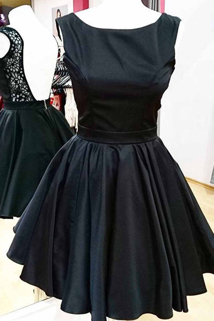 Black satin scoop neck short lace back homecoming dresses, short A-line party dress