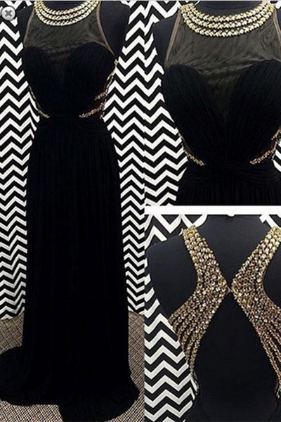 Luxury balck chiffon O-neck see-through cross back beading A-line long dresses,formal dresses - occasion dresses by Sweetheartgirls