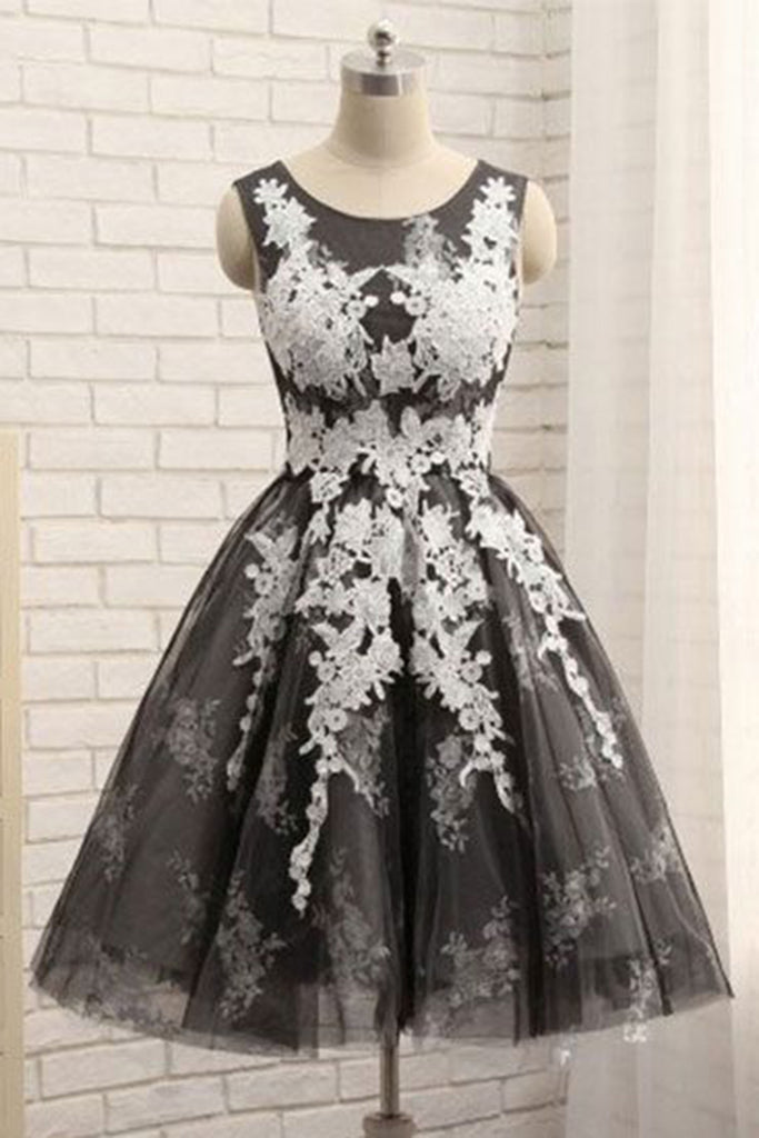 2019 Prom Dresses | Black tulle short round neck homecoming dress with lace, short party dresses
