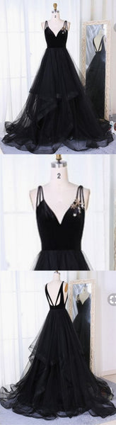 Sweet 16 Dresses | Black tulle V neck long open back ruffles A-line evening dress