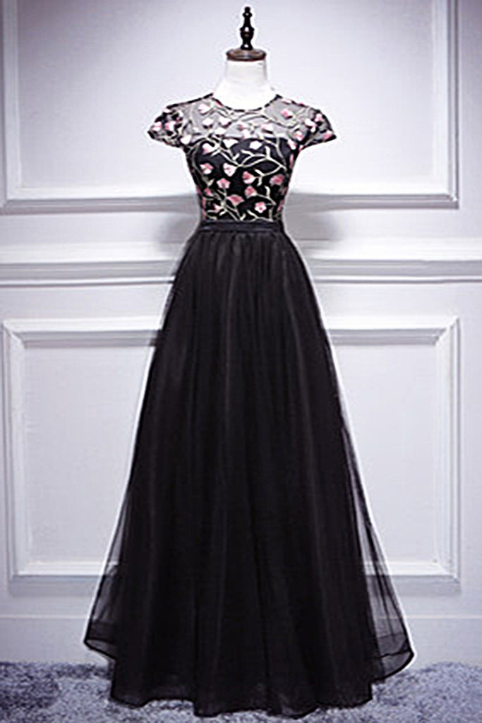 2019 Prom Dresses | Black tulle O neck long cap sleeve a line evening dress, black lace formal prom dress