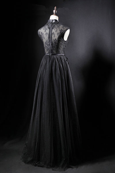 2019 Long Prom Dresses | Black tulle high neck long a line evening dress, black lace top formal prom dress