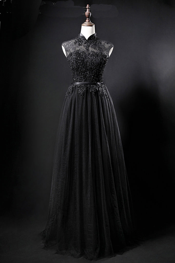 b6dbcfd6eee Black tulle high neck long a line evening dress