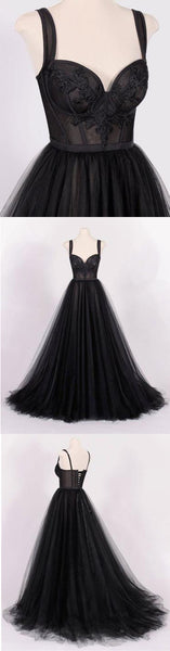 Sweet 16 Dresses | Unique black tulle sweetheart A-line handmade long evening dress, long lace top party dress