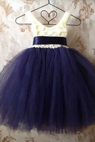 Prom 2020 | Dark blue organza V neck lace girls dress  with straps