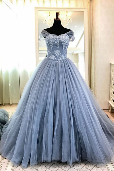 2019 Prom Dresses | Blue gray tulle high neck cap sleeve long evening dress, long formal prom gown with appliqués