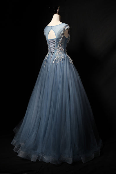 Sweet 16 Dresses | Blue gray tulle round neck long cap sleeve evening dress, lace formal prom dress
