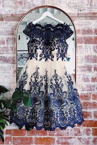 Unique navy blue lace cap sleeves A-line customize short tulle prom dress, party dress