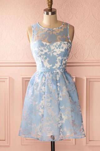 Simple blue lace scoop neck short party dress, blue lace fashion dress