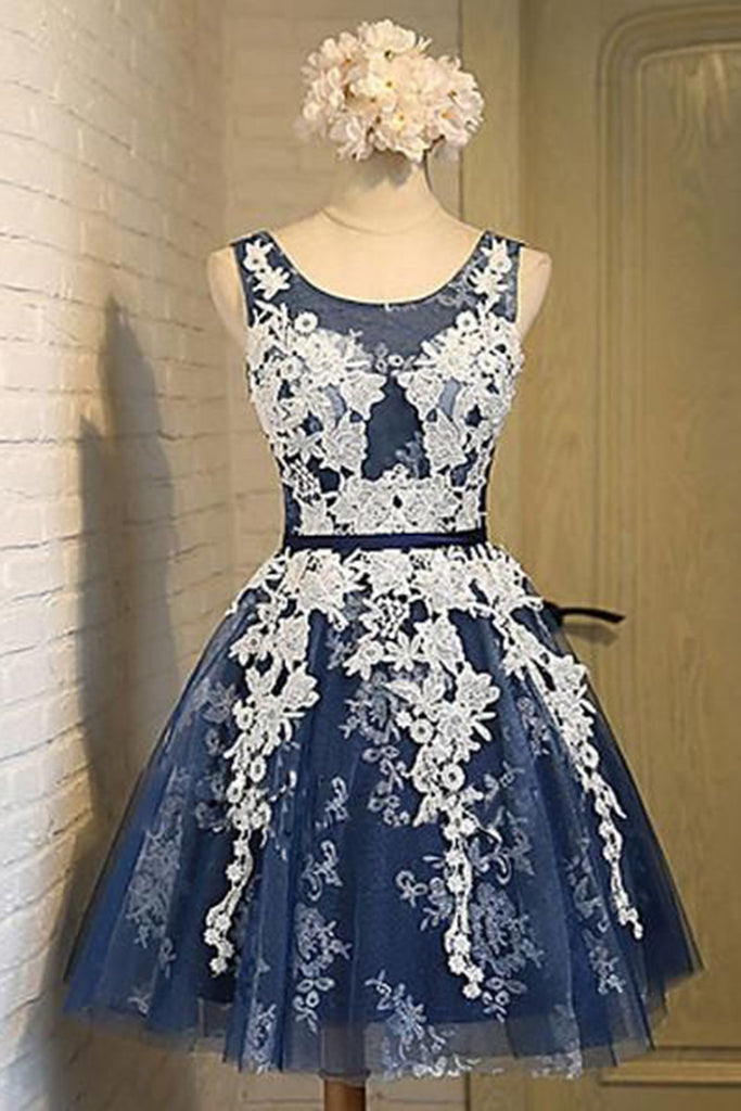 Sweet 16 Dresses | Dark blue tulle lace O-neck see-through A-line short dresses,cute casual dresses