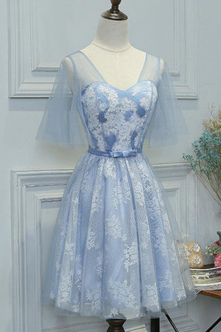 Blue lace short prom dress with sleeves, short bridesmaid dress with bowknot