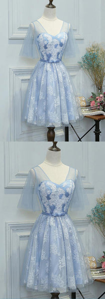 2019 Prom Dresses | Blue lace short prom dress with sleeves, short bridesmaid dress with bowknot