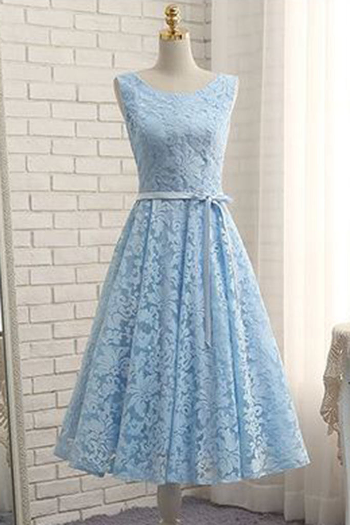 2018 evening gowns - Ice blue lace tea length A-line prom dress with sash, simple party dress