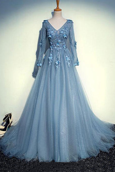 Sweet 16 Dresses | Elegant blue gray tulle long lace appliqués open back prom dresses with sleeves