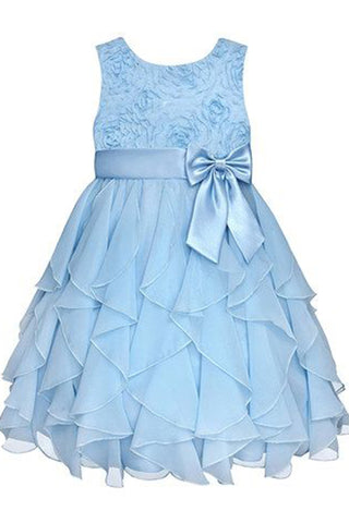 Baby blue chiffon tiered lace round neck A-line bowknot  girls dress  with straps - prom dresses 2018